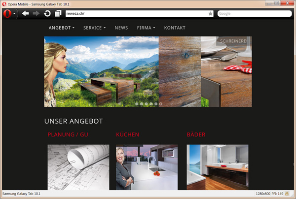 Responsive Website Tablet Darstellung